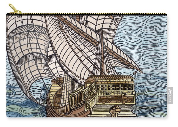 Ship From The Time Of Christopher Columbus Carry-all Pouch