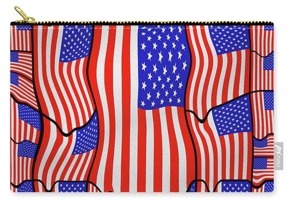 Soft American Flags  Carry-all Pouch