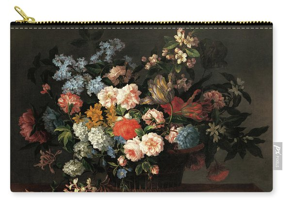 Still Life With Basket Of Flowers Carry-all Pouch