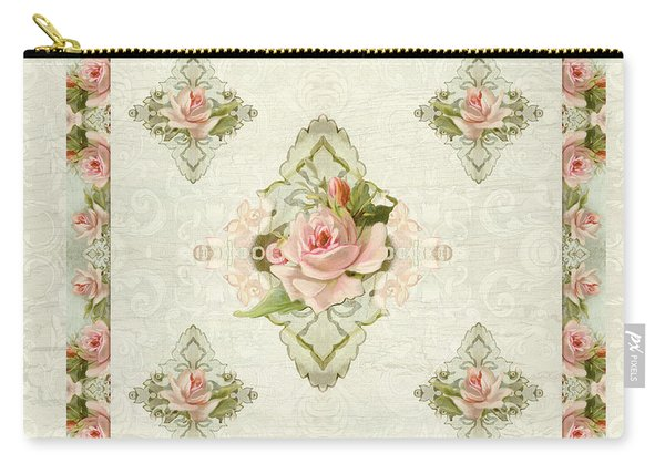 Summer At The Cottage - Vintage Style Damask Roses Carry-all Pouch