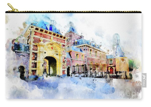 Town Life In Watercolor Style Carry-all Pouch