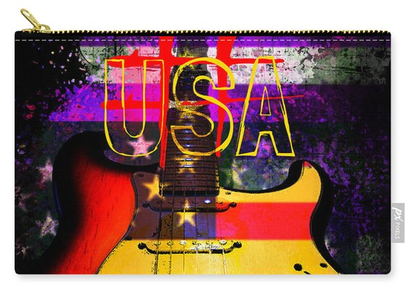 Red Usa Flag Guitar  Carry-all Pouch