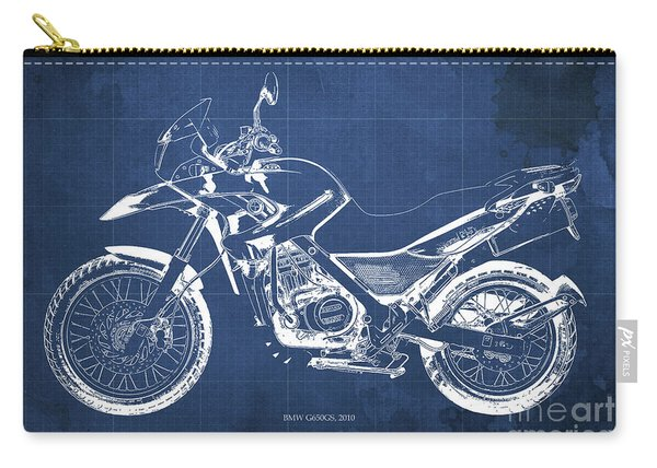 2010 Bmw G650gs Vintage Blueprint Blue Background Carry-all Pouch