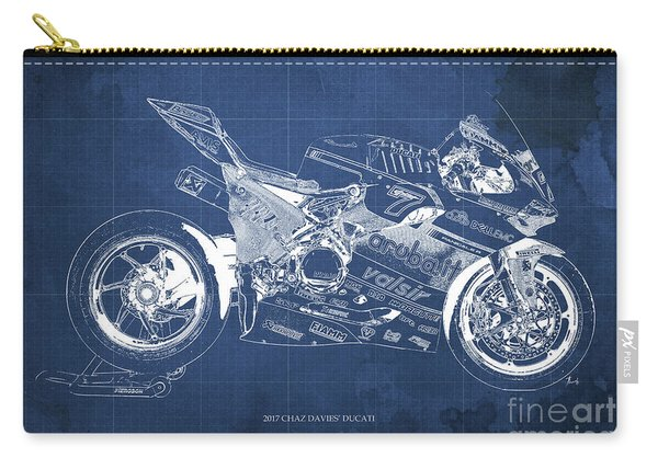 2017 Chaz Davies Ducati Motorcycle Blueprint Blue Background Gift For Men Carry-all Pouch