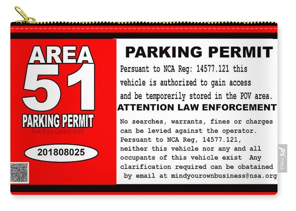 2018 Area 51 Parking Permit Carry-all Pouch