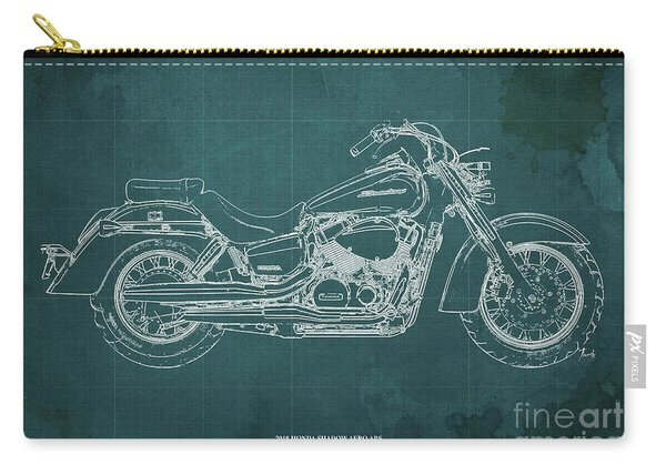 2018 Honda Shadow Aero Abs Blueprint Ghreen Background Gift For Bikers Carry-all Pouch