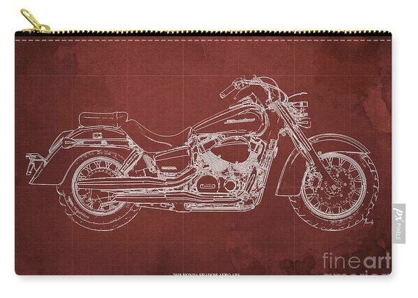 2018 Honda Shadow Aero Abs Blueprint, Red Background Carry-all Pouch