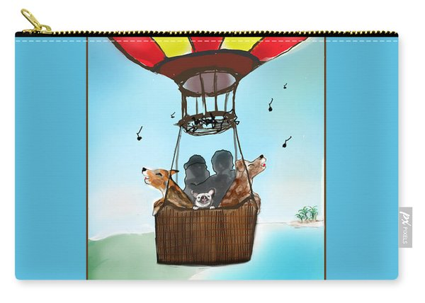 3 Dogs Singing In A Hot Air Balloon Carry-all Pouch