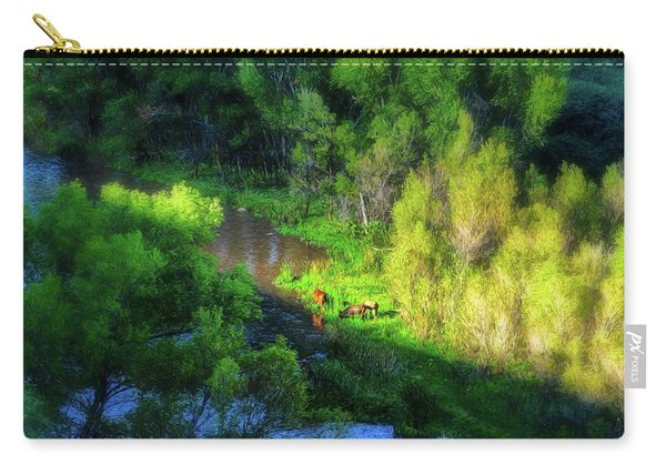 3 Horses Grazing On The Bank Of The Verde River Carry-all Pouch