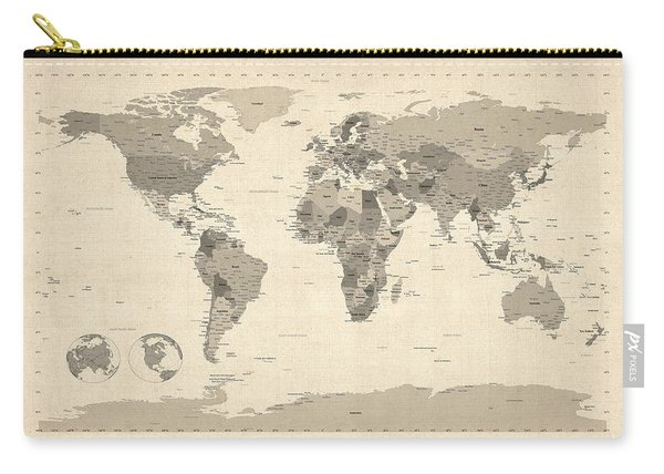 Political Map Of The World Map Carry-all Pouch