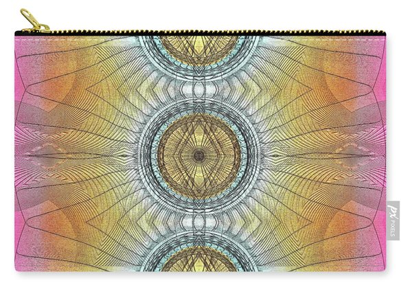 Carry-all Pouch featuring the digital art 3 Warrior Hunter Shield by Visual Artist Frank Bonilla