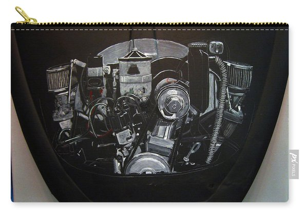 Carry-all Pouch featuring the painting 356 Porsche Engine On A Vw Cover by Richard Le Page