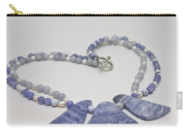 3588 Blue Banded Agate Necklace Carry-all Pouch