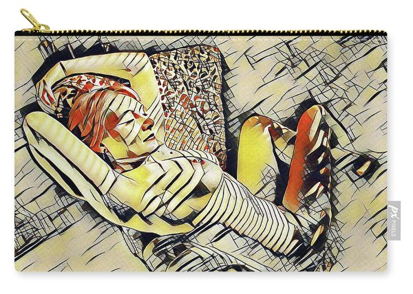 4248s-jg Zebra Striped Woman In Armchair By Window Erotica In The Style Of Kandinsky Carry-all Pouch