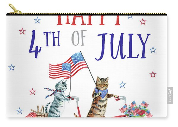 4th Of July Cats On Bike 3 Card Carry-all Pouch