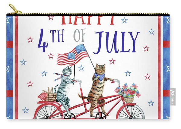 4th Of July Cats On Bike Carry-all Pouch