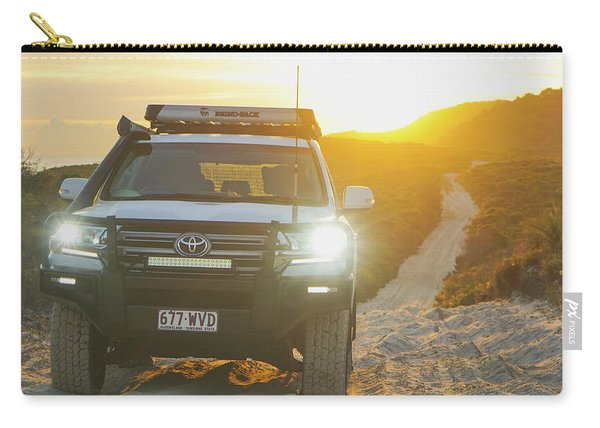 4wd Car Explores Sand Track In Early Morning Light Carry-all Pouch