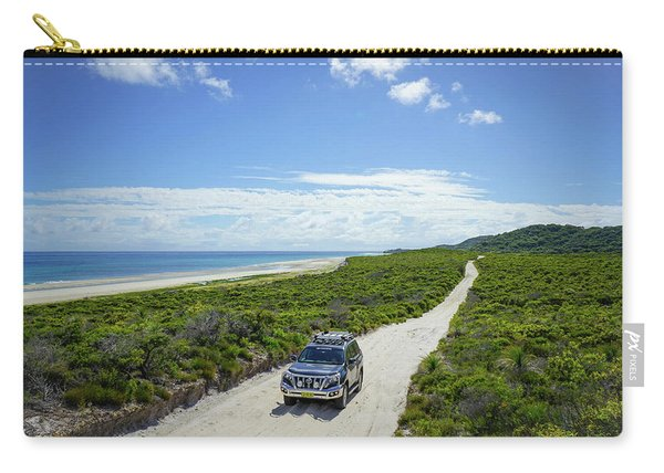 4wd Car Exploring Remote Track On Sand Island Carry-all Pouch