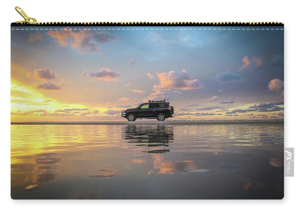 4wd Vehicle And Stunning Sunset Reflections On Beach Carry-all Pouch