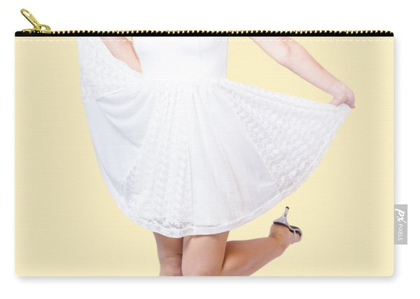 50s Pinup Woman In White Dress Dancing Carry-all Pouch
