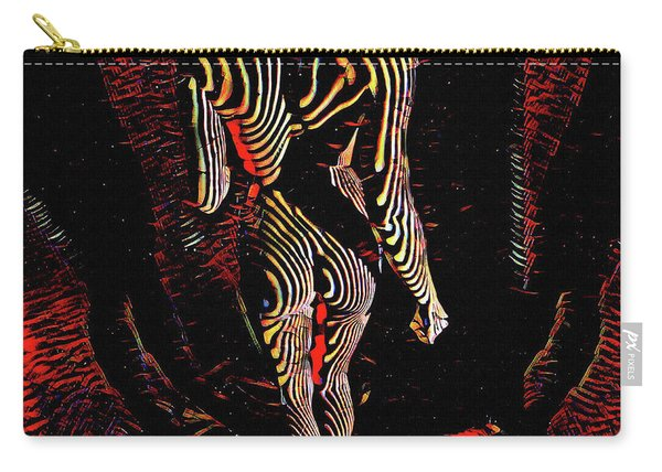 5360s-mak Abstract Zebra Striped Woman Strong Shoulders Carry-all Pouch