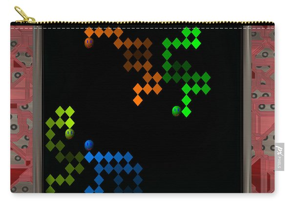 Lcd Screen With Retro Style Game Generated Texture Carry-all Pouch