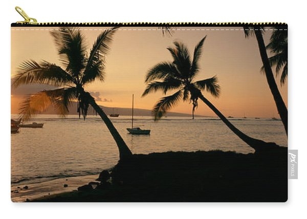 Silhouette Of Palm Trees At Dusk Carry-all Pouch