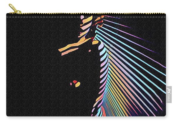 6580s-nlj Woman In Shadows By Window Zebra Striped Rendered In Composition Style Carry-all Pouch