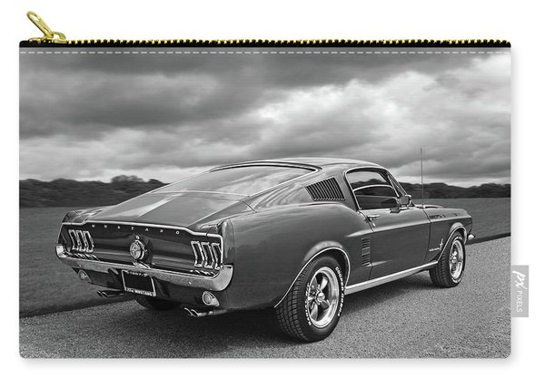 67 Fastback Mustang In Black And White Carry-all Pouch