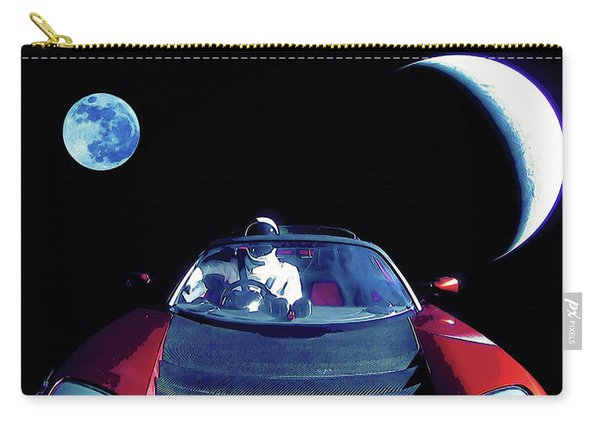 Starman In Tesla Roadster With Planet Earth Traveling In The Space Carry-all Pouch