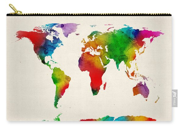 Watercolor Map Of The World Map Carry-all Pouch