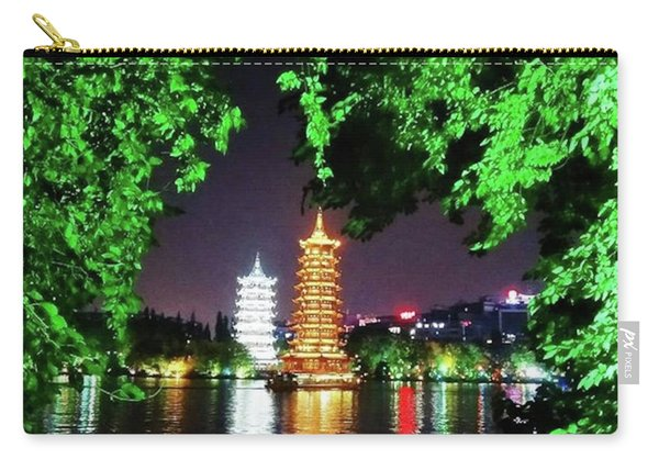 Sun And Moon Pagoda Green Leaves Carry-all Pouch