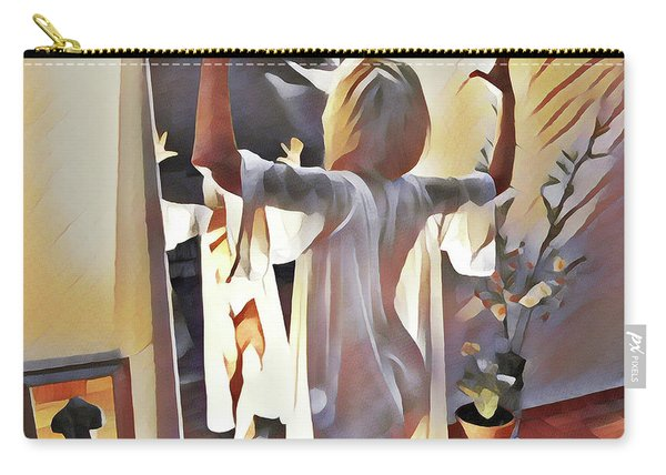 9906s-dm Woman Confronts Herself In Mirror Carry-all Pouch