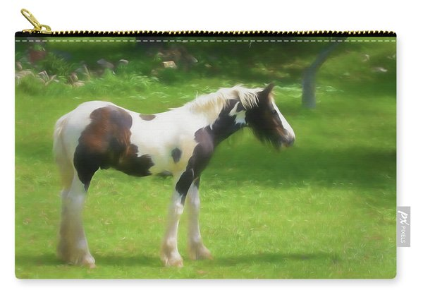 A Beautiful Young Gypsy Vanner Standing In The Pasture Carry-all Pouch