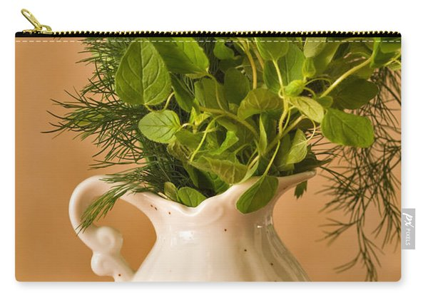 A Bouquet Of Fresh Herbs In A Tiny Jug Carry-all Pouch