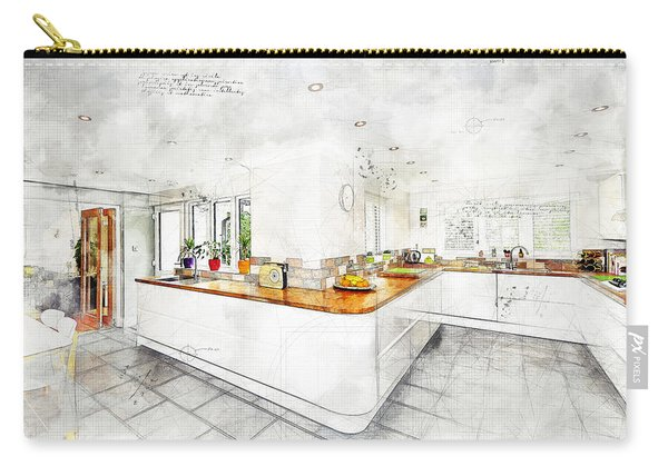 A Bright White Kitchen Carry-all Pouch
