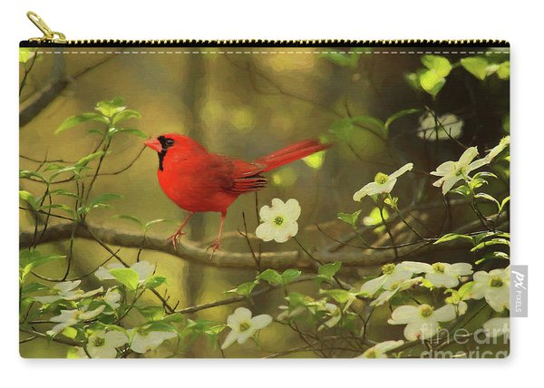 A Cardinal And His Dogwood Carry-all Pouch