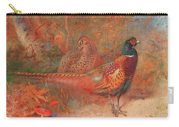 A Cock And Hen Pheasant Unframed Carry-all Pouch