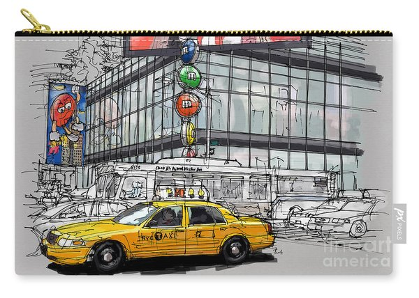 A Corner In New York City And A Yellow Cab Carry-all Pouch
