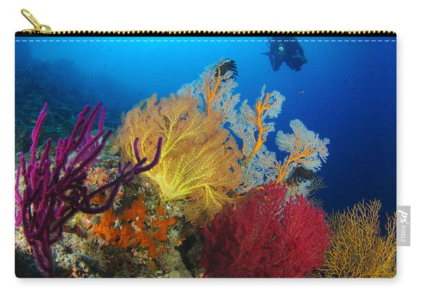 A Diver Looks On At A Colorful Reef Carry-all Pouch