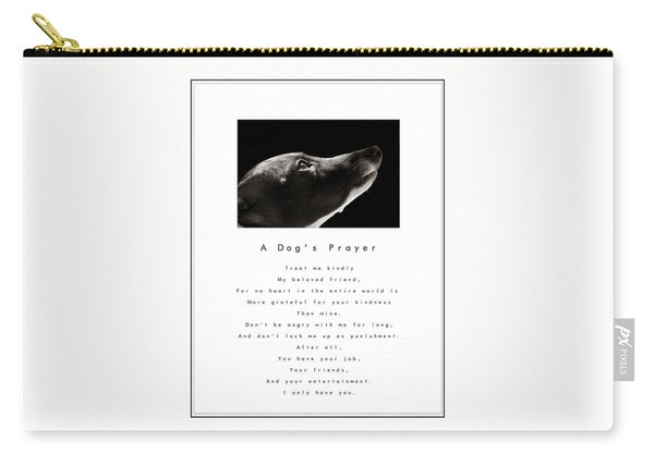 A Dog's Prayer In White  A Popular Inspirational Portrait And Poem Featuring An Italian Greyhound Carry-all Pouch