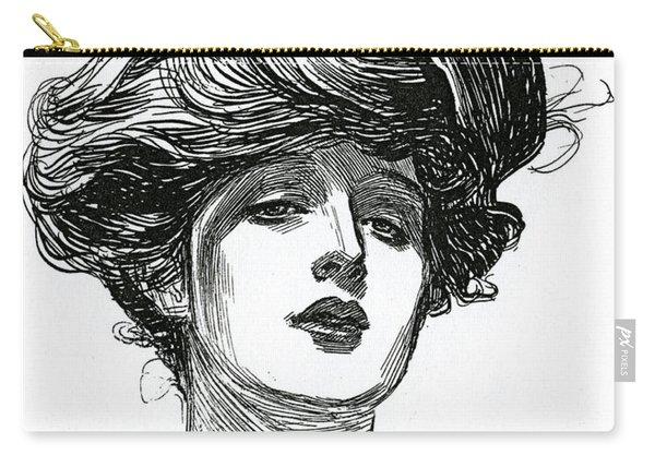 A Gibson Girl, Circa 1902 Lithograph Carry-all Pouch