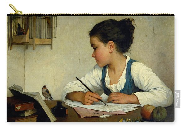 A Girl Writing. The Pet Goldfinch Carry-all Pouch