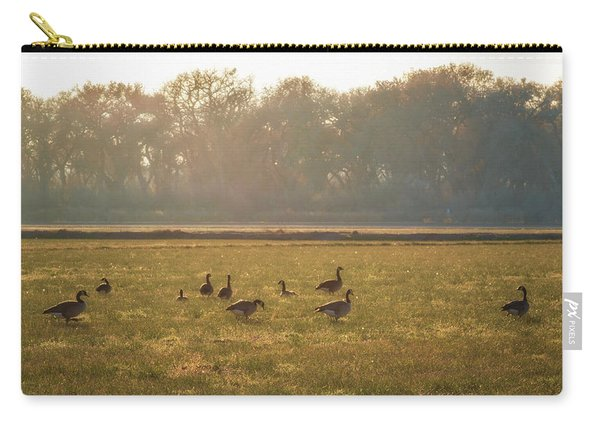Carry-all Pouch featuring the photograph A Golden Dream Of Geese by Mary Lee Dereske