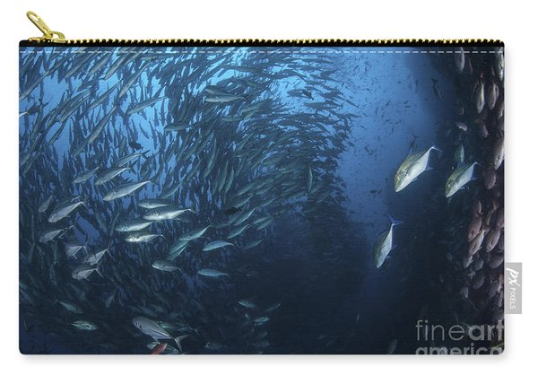 A Large School Of Trevally Near Cocos Carry-all Pouch