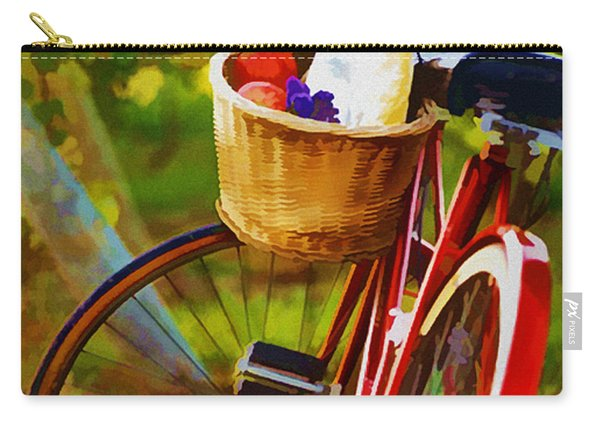 A Loaf Of Bread A Jug Of Wine And A Bike Carry-all Pouch