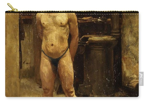A Male Model Standing Before A Stove John Singer Sargent Carry-all Pouch