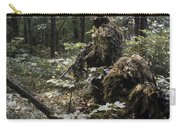 A Marine Sniper Team Wearing Camouflage Carry-all Pouch