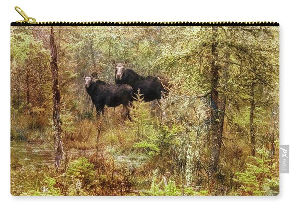 A Mother And Calf Moose. Carry-all Pouch