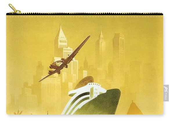 A Pleasant Trip To Germany - Airship, Aircraft, Ship - Retro Travel Poster - Vintage Poster Carry-all Pouch